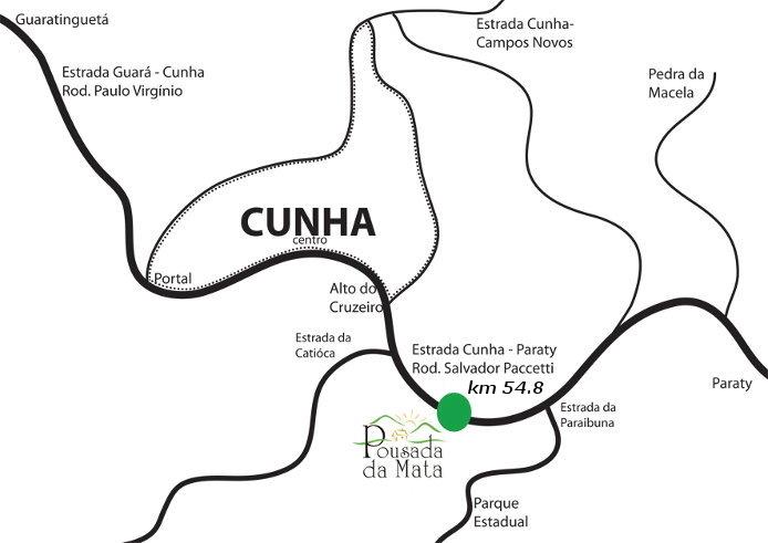 Localização - Pousada da Mata, Cunha/SP